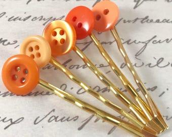 Small Orange Bobby Pins Button Hair Pins Hair Accessories