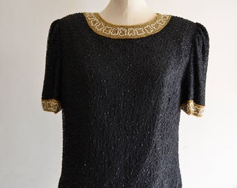 LAURENCE KAZER SEQUIN Pearl Silk Dynasty Beaded Black Top Gold Collar Evening Blouse 1980