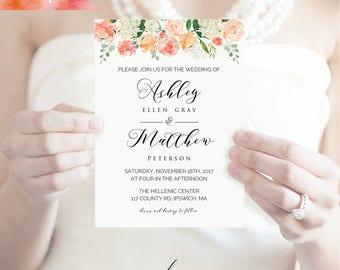 Printable Peach Cream Floral Wedding Invitation, Editable PDF, 5x7 Rustic Boho Fall Wedding Invites, vistaprint, DIY Instant Download
