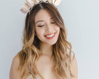 Rose gold leather fascinator leaf crown // Metallic rose gold leaf crown headband / leather fascinator / leather races fascinator headpiece