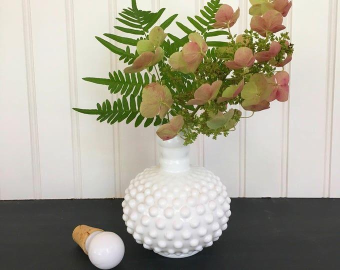 Hobnail Milk Glass Vase or Perfume Bottle