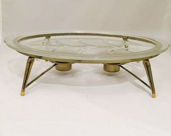 FOR KIMBERLYGlass Meat Serving Platter With Tree of Life Juice Reservoir And Brass Warming Stand Chafing Dish Mid Century