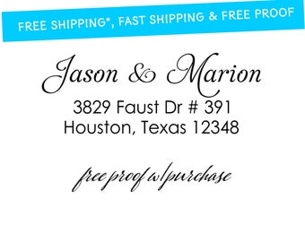 Script Return Address Stamp featuring the Couple's First Names  Mounted with Handle or Self-Inking Return Address Stamp (20347) 2 1/2 x 1