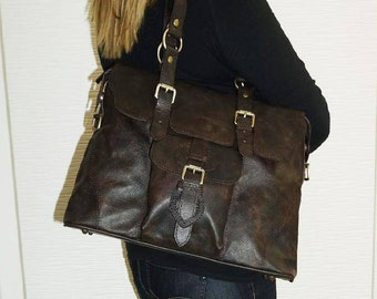 Distressed Genuine Leather Bag, Handbag, Tote, Shoulder Cross-body Purse Johanna L in vintage dark brown