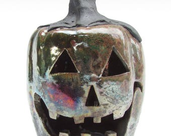 Copper and Metallic Jack-o'-lantern Pumpkin Tea Light for Halloween Decorating