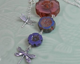 Graduated Glass Flowers and Dragonflies Purple, Blue and Antique Rose Pendant on Sterling  Chain