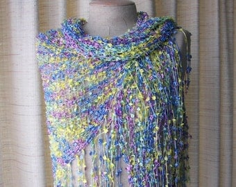 BUTTERFLY: Hand knit Shawl Triangle Scarf Wrap in Rayon / pastel color palette shawl / Ready to ship Gift