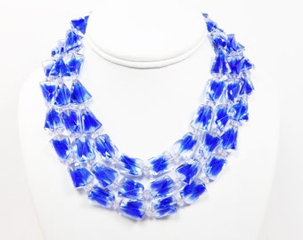 Rare Trifari Blue Givre Beaded Necklace - Triple Strand Art Glass Bead Necklace - Signed Trifari Beads Vintage 1950's 1960's