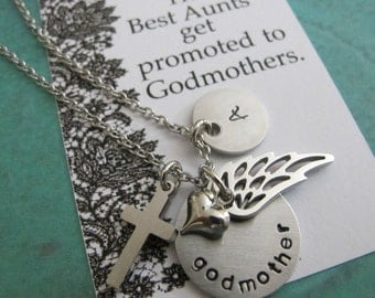 Godmother Necklace - Godmother Gift - Personalized Godmother Jewelry - Baptism Gift - Christening Gift - personalized initial jewelry