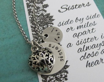 Sister Gift - Gift Sister - Sister Necklace - Sister Jewelry - Sister Birthday Gift - Filigree Heart Necklace - Personalized Sister Necklace