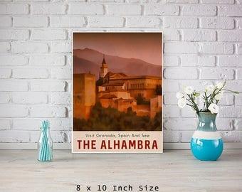 Travel Poster The Alhambra Granada Spain 8x10 Size Vintage Style Mountain Art Purple Mauve Sunrise Dawn