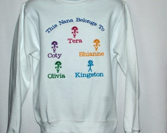 Nana Sweatshirt, Custom Grandparent Gift, With Five Kids, Nonnie, Sittoo, Nemaw, Gram, GiGi, Gammy, No Shipping Fee, Ships TODAY, AGFT 1240
