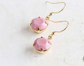 Pink Round Rhinestone Dangle Earrings on Gold Plated Hooks (Vintage Rhinestones)