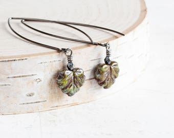 Autumn Leaf Earrings, Mossy Green & Brown Earrings on Long Gunmetal Black Marquis Hooks, Czech Glass Bead Earrings, Fall Jewelry