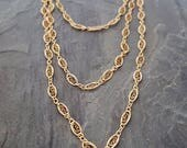 14k Solid Yellow Gold Chain Necklace, 14k Gold Filigree Chain Necklace, Filigree Gold Scroll Chain, Wrap Around Gold Necklace, Vintage Style