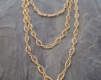 Long Gold Filled Scroll Chain Necklace, 14k Gold Filled Chain, Filigree Gold Scroll Chain, Wrap Around Gold Chain Necklace, Vintage Style