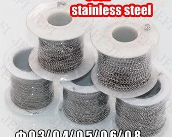 Wholesale 10 Meters Spool 316L Stainless Steel Chain Curb Links- 1.1mm/ 1.5mm/ 1.9mm/ 2.3mm/ 2.9mm Link Width