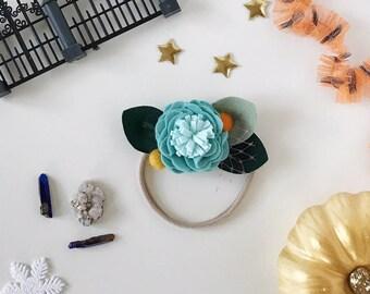 Single Flower Headband or Alligator Clip // Sally Nightmare Before Christmas, Fall Carnation Felt Flower