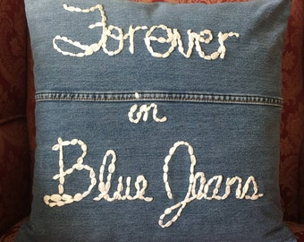 Forever in Blue Jeans denim pillow