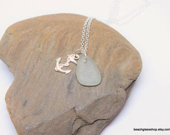 Seafoam Seaglass Necklace - Seafoam Beach Jewelry - Lake Erie Beach Glass - Mermaid Necklace - FREE Shipping inside the United States