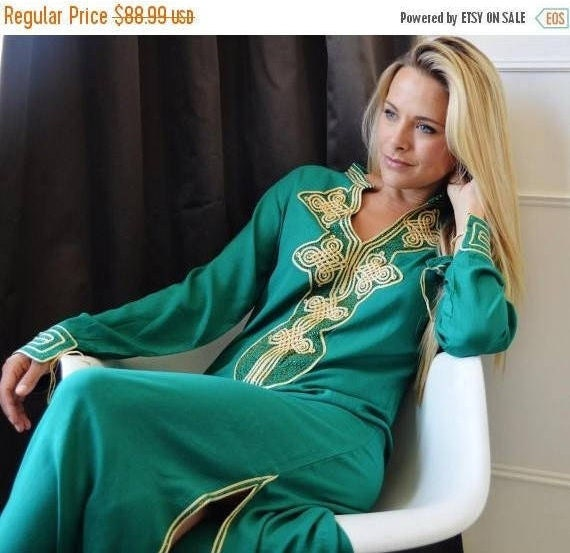 Autumn Dress 25% OFF SALE Autumn Dress Emerald Green Moroccan Caftan Kaftan Aisha-loungewear,resortwear, birthday, Honeymoon, Maternity dres