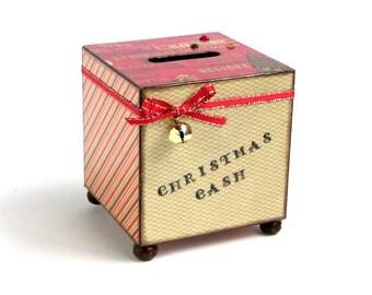 Coin Bank Christmas Savings Bank Decoupaged Christmas Cash Piggy Bank Red Green Stripe Holiday Gift Savings Holiday Decor