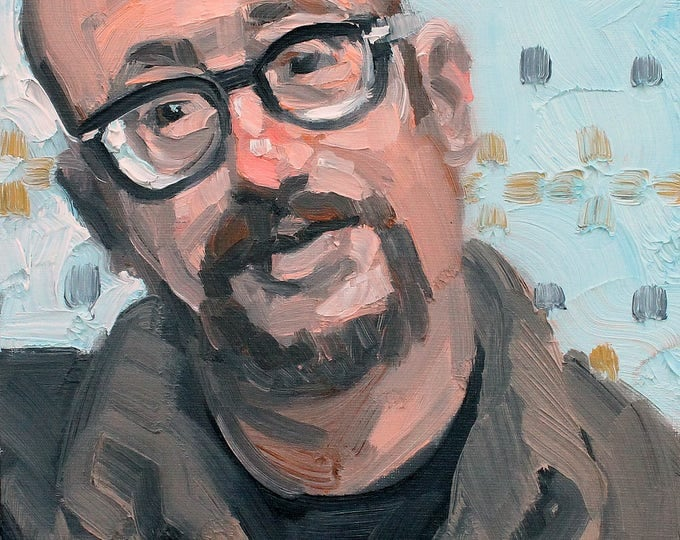 Self Portrait at Age 53, 2018, 9x12 inches oil on canvas panel by KennEy Mencher