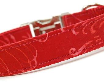 Handmade Dog Collar - Red Swirls Batik - Custom Made Red Dog Collar - Collar with Swish Windy Designs