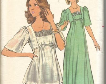 1970s Boho Tunic or Evening Length Dress Flared Sleeves Tie Belt Butterick 4749 Size 14 Bust 36 Women's Vintage Sewing Pattern