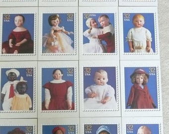 """U.S. Postal Service """"Classic American Dolls"""" Jumbo Mailing Postcards in a Mailing Folder, Gift for Doll Collector"""