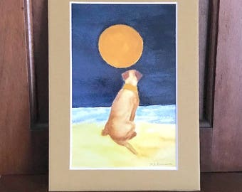 Yellow Labrador Retriever watercolor painting print, yellow lab artwork, tan matte 5x7, giclee birthday gift for friend or pet memorial