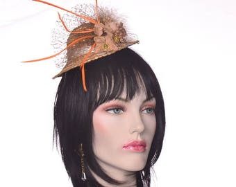 Mini Straw Hat Fascinator with Taupe Brown Roses French Netting and Feathers