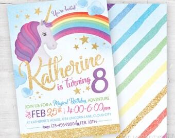 Unicorn Invitation, Unicorn Birthday Invites, Unicorn Party Invitations, Unicorn Invite, Rainbow Unicorn Invitation, Unicorn Birthday Party