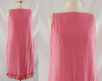 Vintage Sixties Dress - 1960s Pink Shift Dress - 60s Silk Wiggle Dress - Mam'Selle by Betty Carol Dress - Small