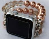 Apple Watch Band, Watch Band for Apple Watch, Rose Pearls Apple Watch Band Bracelet, Apple Watch 38mm, Apple Watch 42mm Beaded Band