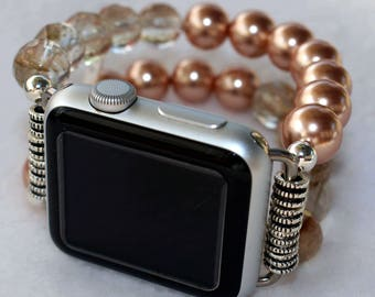 Watch Band for Apple Watch, Rose Pearls Apple Watch Band Bracelet, Apple Watch 38mm, Apple Watch 42mm Beaded Band