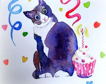 Cat with cupcage. Birthdaycard, Original watercolor