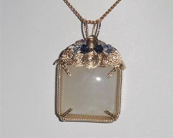 100% NATURAL 49 ct Blue Fire Ceylon MOONSTONE Crystal  gemstone,  14kt Yellow Gold Pendant, Swarovski Crystals
