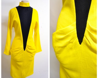 1980s Yellow black body con high neck wiggle dress / 80s new wave pocket dolman sleeve knit party dress - S