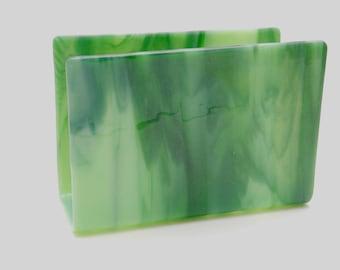 Mail Holder, Letter Holder, Small Napkin Holder, Green Streaky Glass, Glass Letter Holder, #53