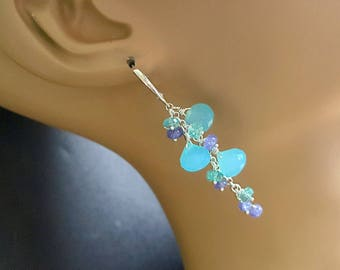 New!  Aqua Blue Chalcedony Kisses with Tanzanite and Apatite Long Cluster Earrings on Sterling Silver Leverbacks  Bridal Earrings