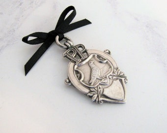 Art Deco Silver Racing Pigeon PP Large Fob Pendant. Vintage English Sterling Pocket Watch Fob Bracelet Necklace Charm. Birmingham 1927