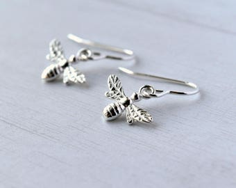 Bee Earrings - Gift for Her - Silver Bee Earrings - Birthday Gift - Bee Jewellery - Drop Earrings - Honey Bee Earrings - Silver Earrings