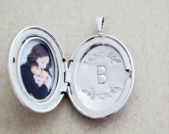 Floral Motif Letter Stamping Service - Personalize any LARGE locket