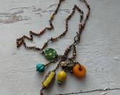Journey to Marrakesh - treassure necklace with turquoise, antique wound glass, faux amber
