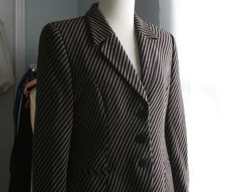 Vintage GIORGIO ARMANI Blazer / 80s Black and Gray Jacket / 8