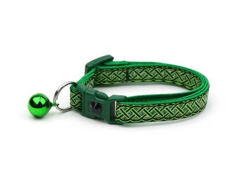 St. Patrick's Day Cat Collar - Celtic Knots on Black - Small Cat / Kitten or Large Cat Collar