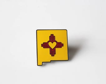 Last Minute Gift New Mexico Zia Enamel Pin / Heart Zia / New Mexico State Pin/ New Mexico Pride / Zia Symbol / NM Pin/ Enamel Pin Zia
