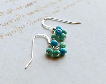 Extra Tiny Turquoise Earrings, Tiny Blue Green Cluster, Sleeping Beauty Turquoise, Chrysoprase Drops