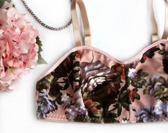 Pink Floral Wireless Bra Bralette Handmade Lingerie Made to Order